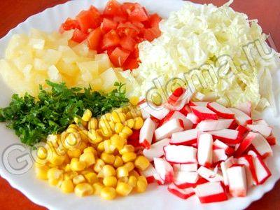 Рецепт салата из крабовых палочек и салата