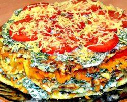 Рецепт торта из кабачков с помидорами и сыром