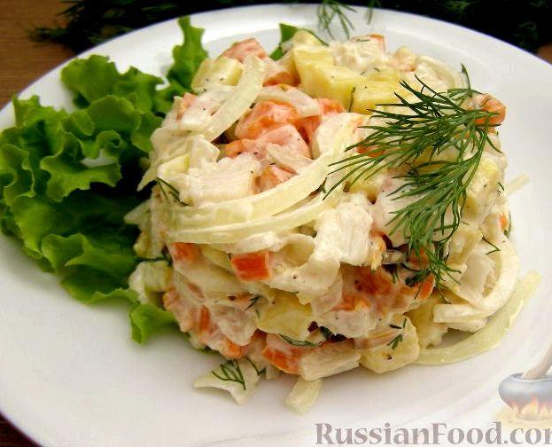 Рыбный салат из отварной рыбы классический рецепт