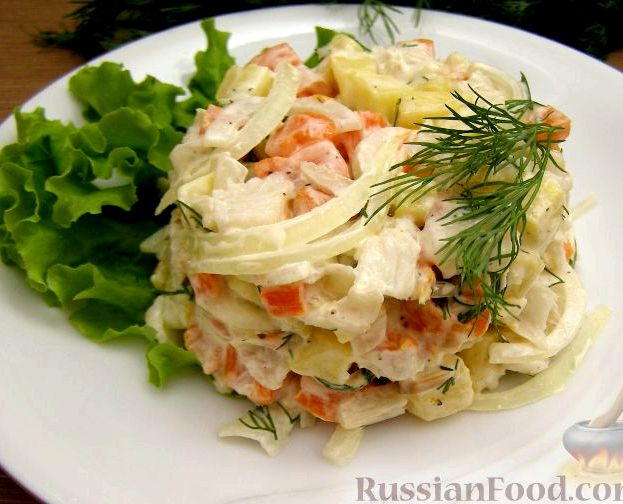 Рыбный салат из отварной рыбы рецепт классический