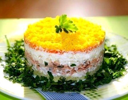 Салат мимоза пошаговый рецепт с консервой