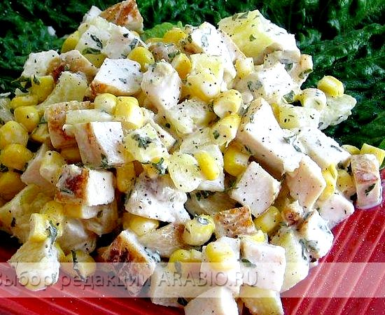 Салат с ананасом и курицей копченой рецепт с фото