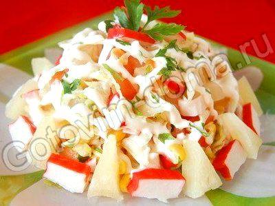 Салат с крабовыми палочками и кукурузой и капустой рецепт с фото