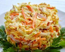 Салат с курицей и яичными блинчиками рецепт с фото