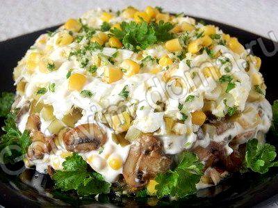 Салат с шампиньонами и с курицей рецепт