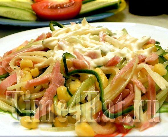 Салат с ветчиной рецепт и с огурцами