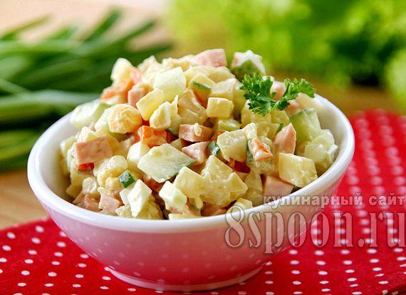 Салат зимний рецепт классический с колбасой и свежим огурцом