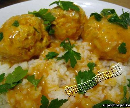 Тефтели с рисом с подливкой из куриного фарша рецепт с фото