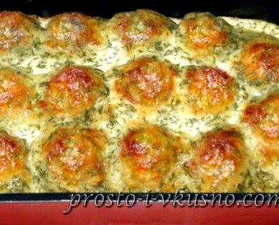 Тефтели в духовке рецепт с фото в сливочном соусе