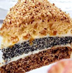 Торт с изюмом орехами и маком рецепт с фото
