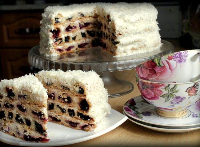 Торт вишня в снегу рецепт с фото пошагово