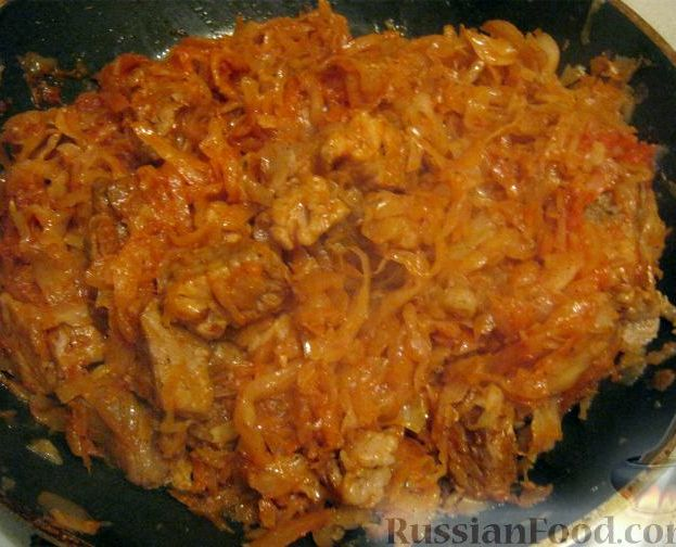 Тушёная капуста с свининой рецепт с фото