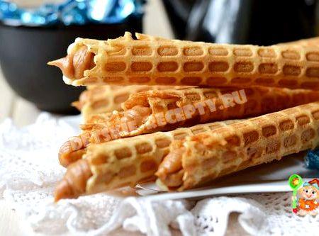 Вафельные трубочки рецепт со сгущенкой с фото