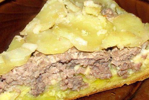 Заливной пирог с картошкой и фаршем рецепт с фото