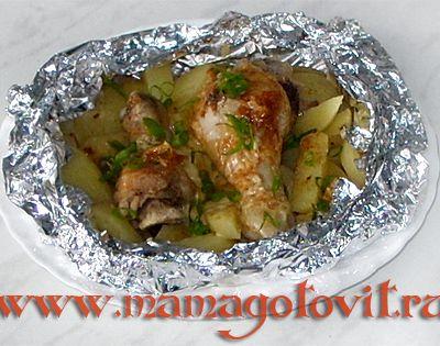 Запеченная курица с картошкой в духовке рецепт с фото