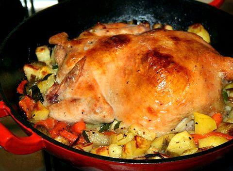 Запеченная курица в духовке с овощами рецепт с фото