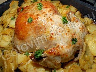 Запечённая курица с картошкой в духовке рецепт с фото