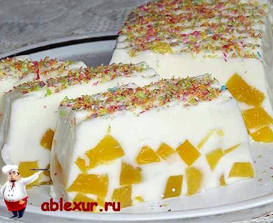 Желе сметанное с фруктами рецепт с фото
